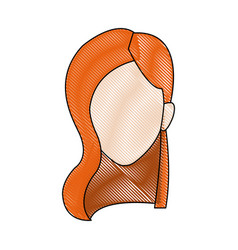 Profile woman young head avatar people vector