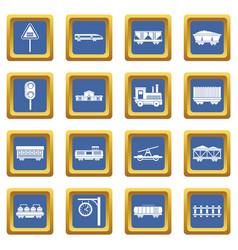 Railway icons set blue vector