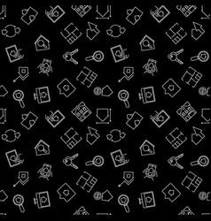 real estate dark outline seamless pattern vector image