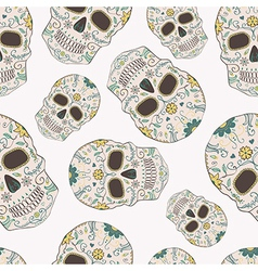 seamless pattern with day dead skulls vector image
