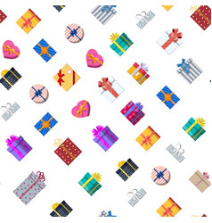 seamless pattern with gift boxes on white vector image
