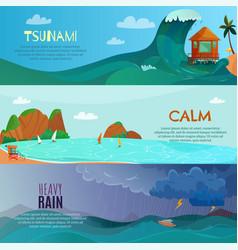 seaside landscapes banners set vector image