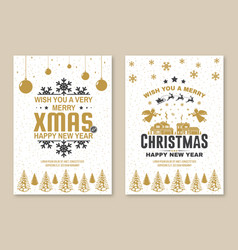 set merry christmas and 2021 happy new year vector image