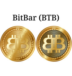 Set of physical golden coin bitbar btb vector