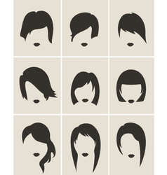 Set of woman hair silhouette vector image