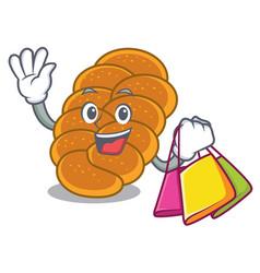 shopping challah character cartoon style vector image