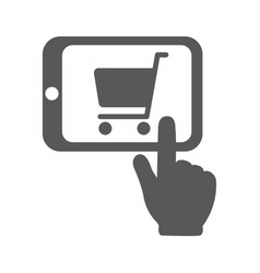 Shopping online with tablet pc vector