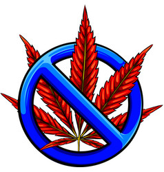 Sign prohibition cannabis red ban vector