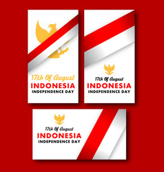 Simple greetings card of indonesia independence vector