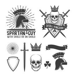 Spartan helmet skull crown vector