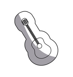 Sticker sketch contour acoustic guitar icon vector