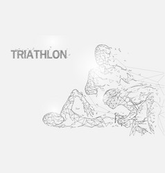 swimming cycling and running in triathlon game vector image
