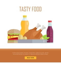 Tasty Food Concept Web Banner vector