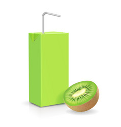 the carton package kiwi juice isolated vector image