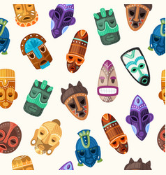 tribal mask ethnic seamless pattern vector image