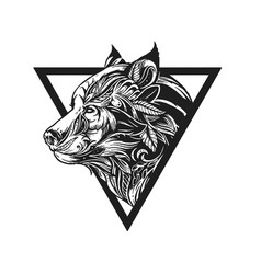 Tribal wolf tattoo concept ornamental vector
