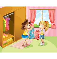 Two girls showing their clothes inside the house vector