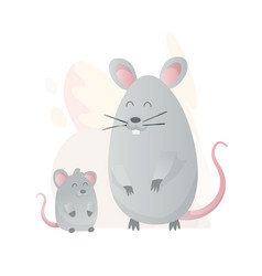Two mouse look at each other animals mom and baby vector