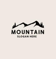vintage black mountain logo template logo vector image