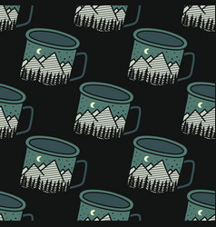 vintage hand drawn camping mug seamless pattern vector image