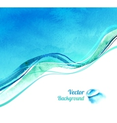 Watercolor background with waves vector image