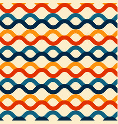 wave lines seamless pattern retro color style vector image