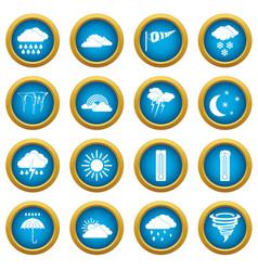 weather set icons blue circle set vector image