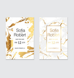wedding cards with marble texture and gold foil vector image
