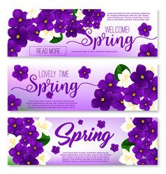 Welcome spring floral banner with flower bouquet vector