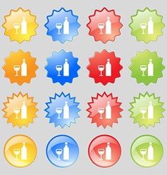 Wine Icon sign Big set of 16 colorful modern vector