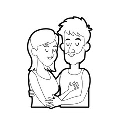 Woman man couple hugging icon image vector