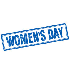 Womens day blue square grunge stamp on white vector