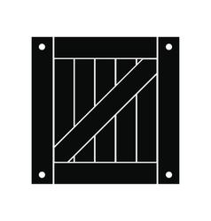 Wooden box black simple icon vector