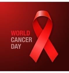 World Cancer Day Red Ribbon on dark background vector image