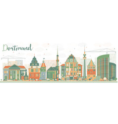 abstract dortmund skyline with color buildings vector image