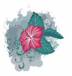 grunge hibiscus flower vector image vector image