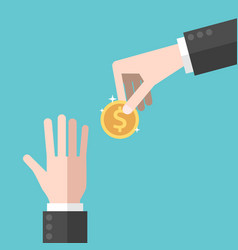 hand giving coin vector image vector image