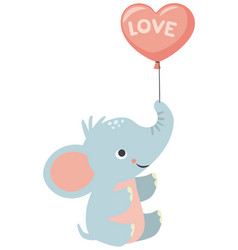 baby elephant holding heart shaped balloon love vector image