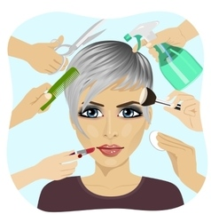 Female face and beauty salon services vector image