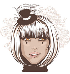 girl bit her lip an actress in a small hat with a vector image vector image