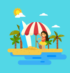 Hello summerwoman dancing on the beach vector