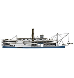 Historical paddle steamboat vector image vector image
