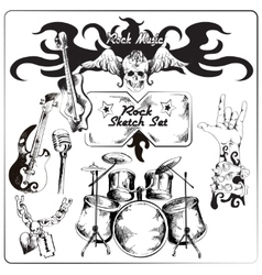 Rock music sketch set vector image