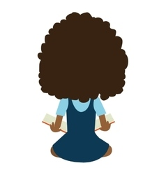 school avatar girl back view graphic vector image