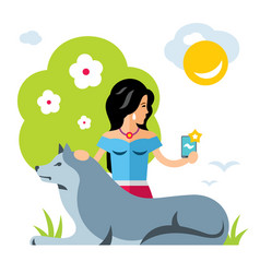 Selfie girl with a dog flat style colorful vector