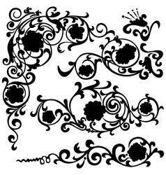 silhouette black flower vector image vector image