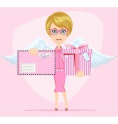 The girl-angel congratulates gives invitation vector image