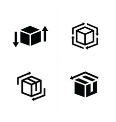 box and arrow icons set vector image