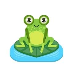 Smiling Cartoon Frog Character vector image