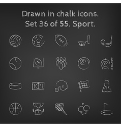 Sport icon set drawn in chalk vector image vector image
